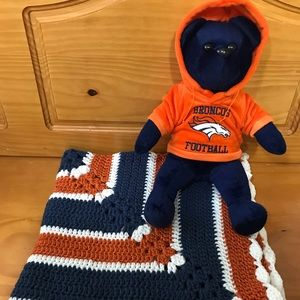 "NEW Handmade Crochet 28"" Baby Blanket Set Broncos"